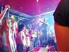 Sexy and drunk teen babes fucking male strippers at the club
