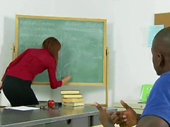 Redhead teacher pleasures her black student