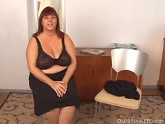 Huge boobs old spunker plays with her fat juicy pussy