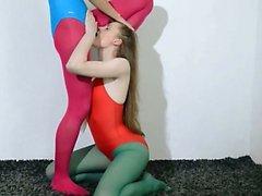 Hairy girl4girl in nylon pants loving
