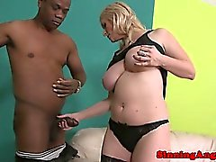 Bigtit blonde mature rides on black cock