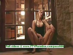 Anne angelic blonde babe fingering pussy and getting naked