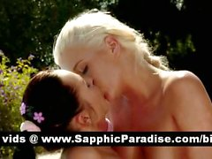 Angelic brunette and blonde lesbos fingering and licking pussy and having lesbo sex