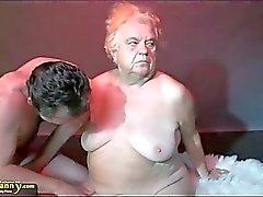 OldNanny Stort bröst Stora farmor på en trekant
