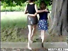 Two sluts masturbate in public, on the street, park in France!