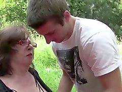 18yr old Boy Fuck 61yr old Hairy Granny in Ass in Public