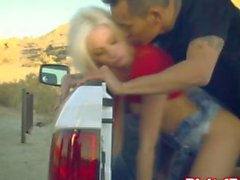 Blonde bimbo babe fucked in a pickup truck