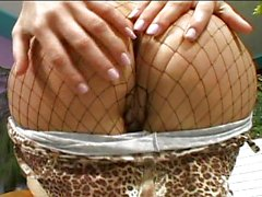 Pantyhose twat fingering babe is horny