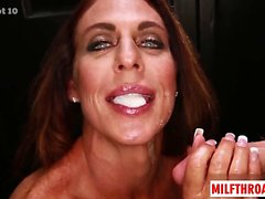 Brunette milf deepthroat with cum in mouth
