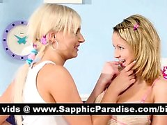 Hot blonde lesbos kissing and licking nipples and having lesbo love