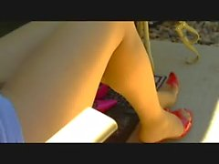 legs in pantyhose in backyard 3 mins 22 sec