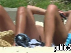 Topless Girls Tanning Outside In The Sun