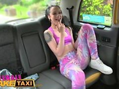 Female Fake Taxi Sexy lesbian fun with toys in british taxi