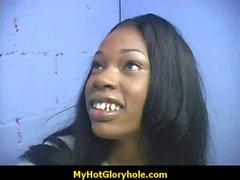 Amateur ebony at the gloryhole 1