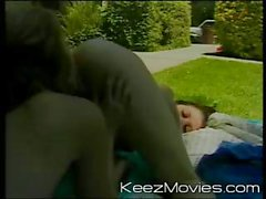 Young blonde and brunette lesbians playing pussy games on a blankie in the backyard