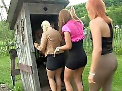 Pussyloving party sluts piss fucking outdoors