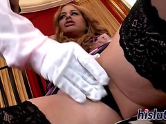 Naughty mistress fucks her horny servant