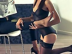 Hot babes copulate with strap in garters