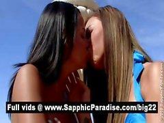 Superb brunette lesbians kisisng and licking nipples and having lesbian sex