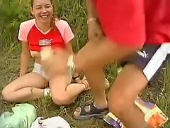 Blonde pussy fucked in close up in outdoor group sex