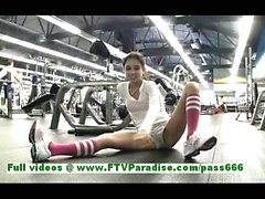 Trinity sexy brunette woman fingering pussy and flashing tits at the gym