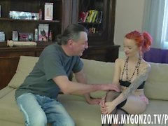 Redhead petite teen girl gets busted by Dieter Von Stein (incl. interviews)