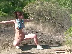 My nude girlfriend strips in the forest