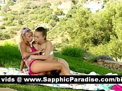 Cute brunette and blonde lesbos kissing and licking nipples and having lesbo sex