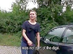 Fresh faced coed Nessy fucked in public