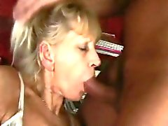 Blonde granny sucks and fucks a young cock