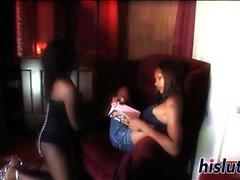 Two ebony vixens share a monster pole