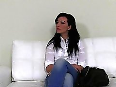 Small tits amateur has sex on casting pov