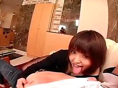 Sensual Japanese girl in pantyhose sucks and fucks a hard p