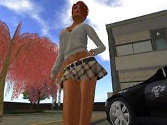 La jolie et sexy Venicie en mini jupe kilt et décolleté très généreux