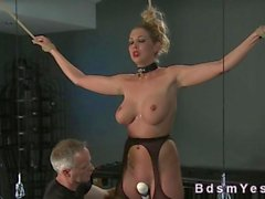 Busty blonde sub tied up and vibed