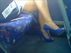 Sexy legs on train. hidden cam