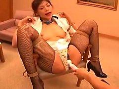 Submissive Oriental slut in lingerie gets drilled rough wit
