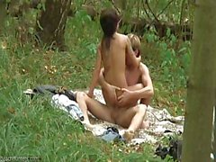 Romantic picnic continues with sex with a slim dark-haired cutie