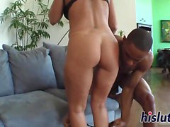 Stunning Kendra rides a long black pole