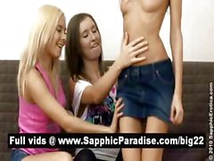 Sensual brunette and blonde lesbians kissing in a great three way lesbian orgy