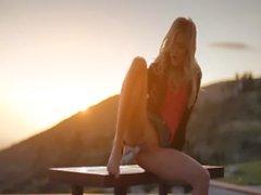 Blonde model Francesca during sunset