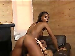 Sexy ebony Marie Luv tag teamed by two horny white dudes