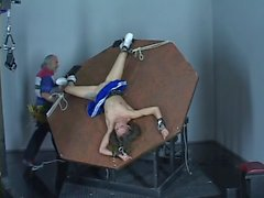 Mistress makes cheerleader get on her knees and pulls her hair