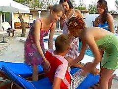 pleasing gangbang with four girls and me