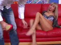 Shootourself Sensual art sex with skinny blonde sexbomb on red sofa