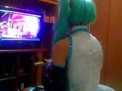 cute hatsune miku cosplay screaming like a whore