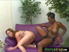Interracial lesbian hotties fucking with strapon 15