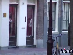 Kinky European hooker rides on a shaft
