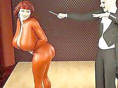 Redhead mit dicken Titten das Saugen ein Zauberer