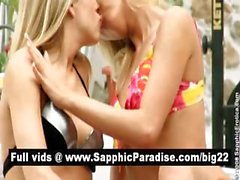 Hot blonde lesbians kissing and licking nipples and having lesbian sex